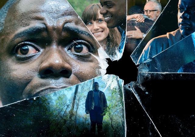 several images of people seen through a cracked glass - a man in the woods, two men embracing, a man in a metal helmet