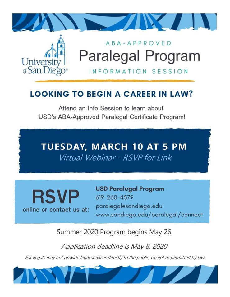 Paralegal Program virtual info session flyer advertising date, time, and RSVP details