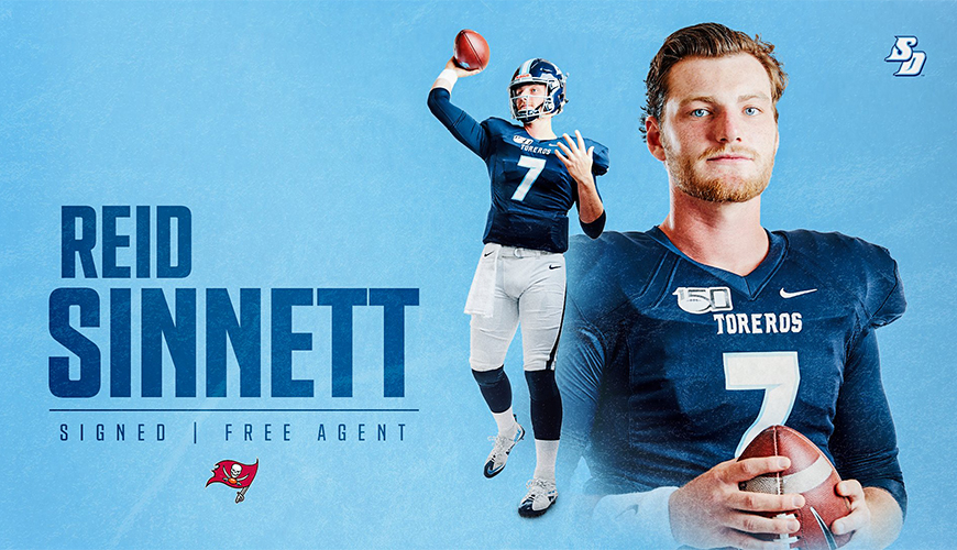 Reid Sinnett, starting quarterback for USD last season, signed an NFL free-agent deal with the Tampa Bay Buccaneers. Sinnett completed his undergrad degree in finance in December.