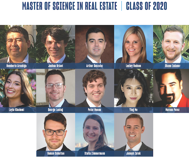 Collage of the University of San Diego's Master of Science in Real Estate 2020 cohort