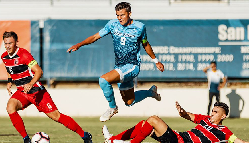 Former Torero soccer standout Miguel Berry, center, was drafted by the MLS' Columbus Crew in the first round, but the team has loaned him out to the San Diego Loyal SC for the rest of this season.