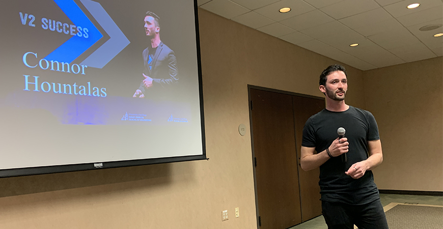 Connor Hountalas, the 2019 V2 Pitch Competition winner, speaks to prospective entrepreneurs earlier this spring. The 2020 V2 event has been postponed until Spring 2021, it was announced on April 3.