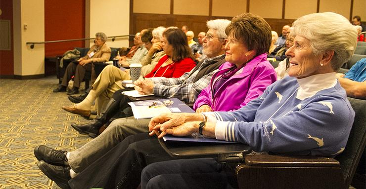 Members of the January 2018 University of the Third Age audience listen intently during a presentation by USD President James T. Harris on