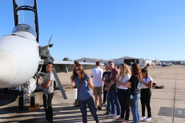 Midshipmen tour Marine Corps squadrons during a NROTC SD Aviation Club event.