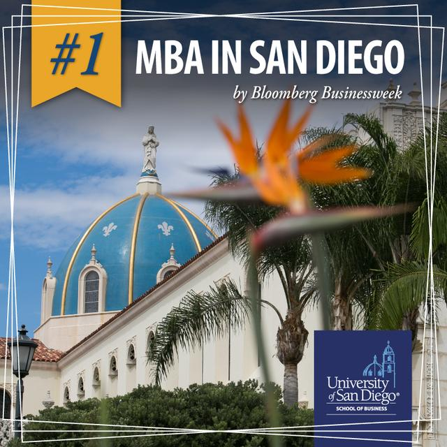 A USD building with a bird of paradise in the forefront with overlay text announcing that USD's MBA is #1 in San Diego according to Bloomberg Businessweek