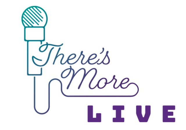 Logo of a microphone and the words There's More Live