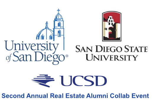 Second Annual Real Estate Collab Event Logos of USD, SDSU and UCSD