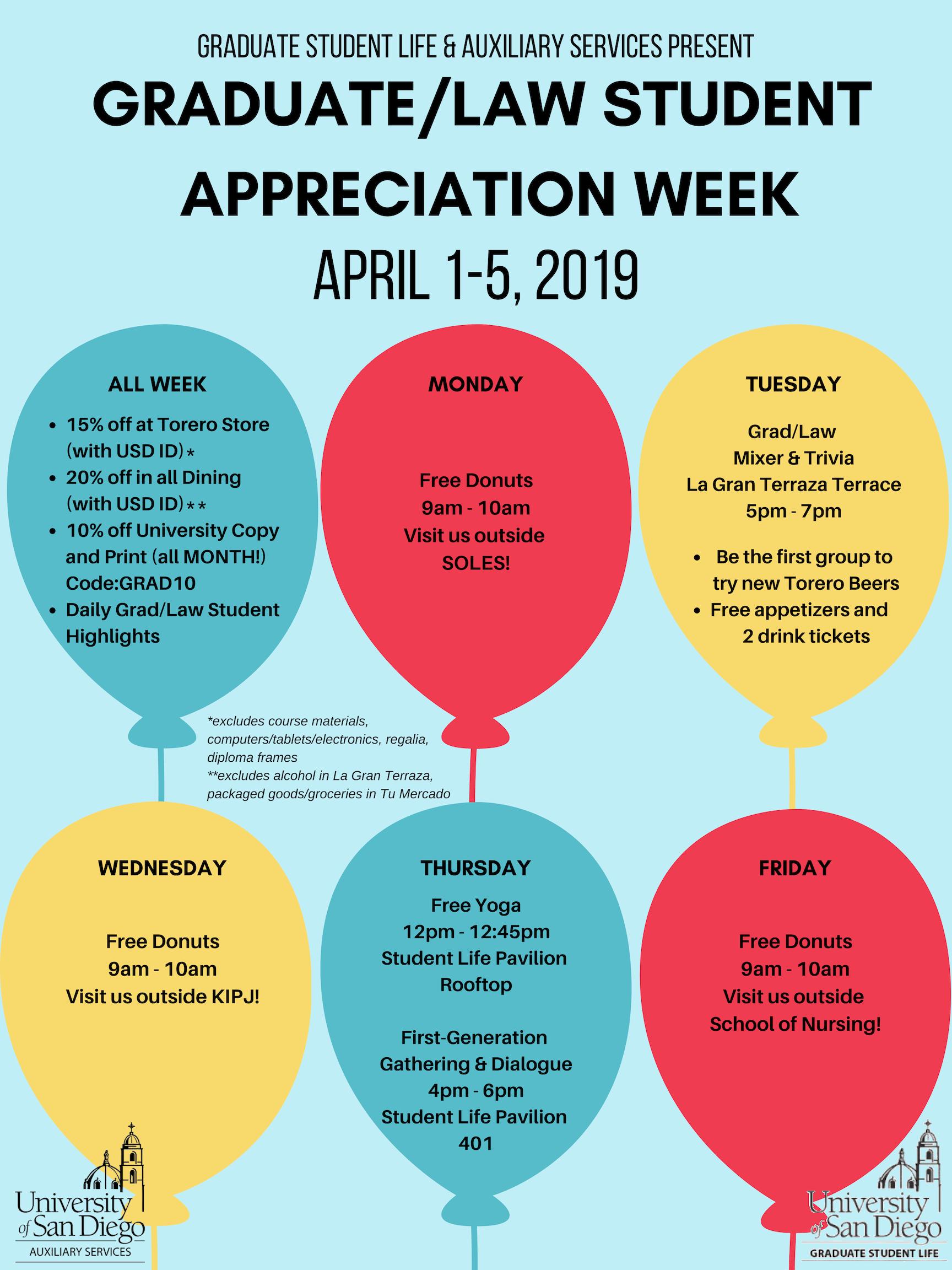 Flyer for Grad Law Appreciation Week