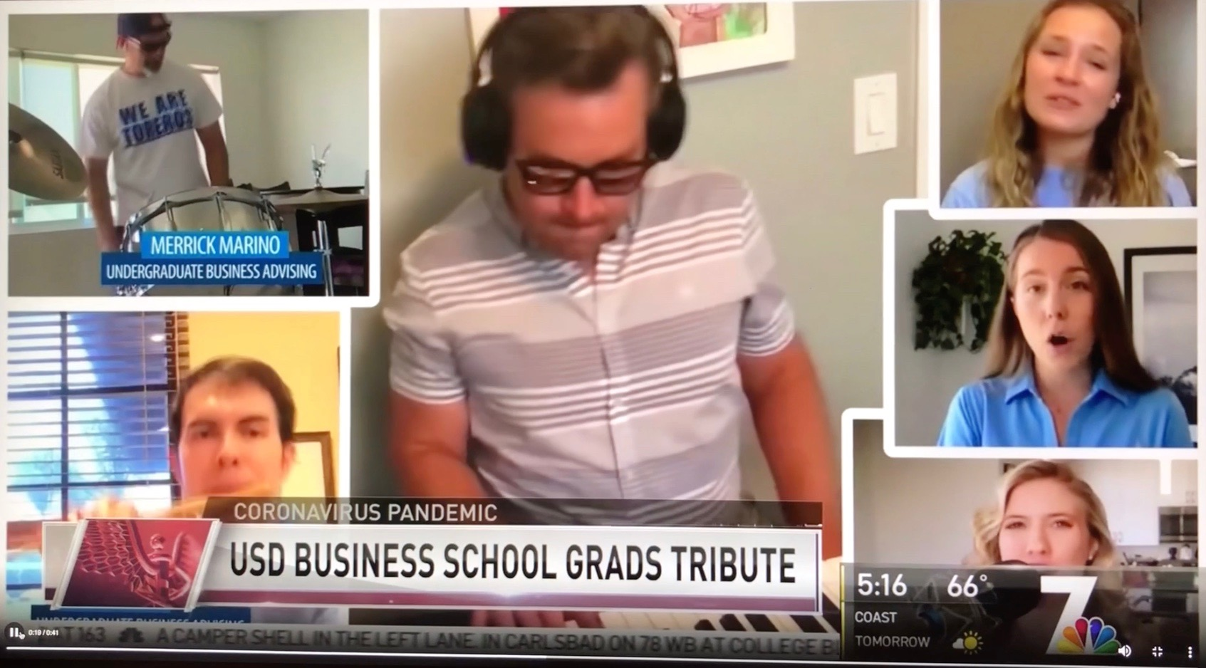 News segment capture: USD Business School Grads Tribute