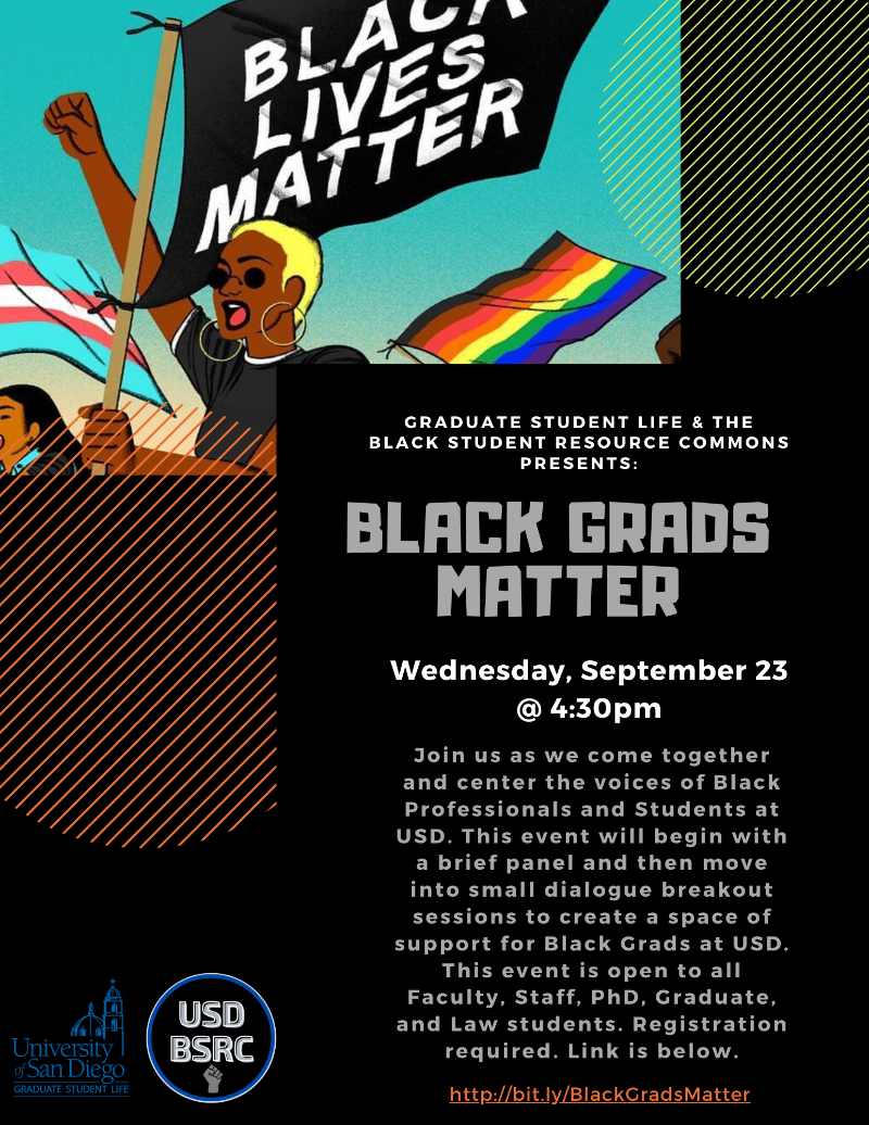 Black Grads Matter Flyer, drawing of woman holding Black Lives Matter Flag, black background with light grey and white text