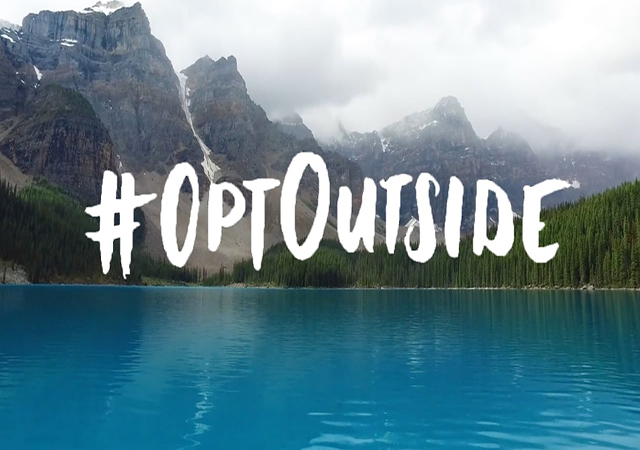 Lake and mountains with #opt outside logo