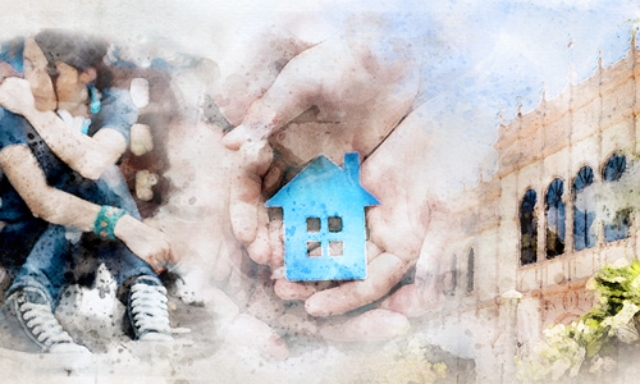 abstract image of hands holding a house