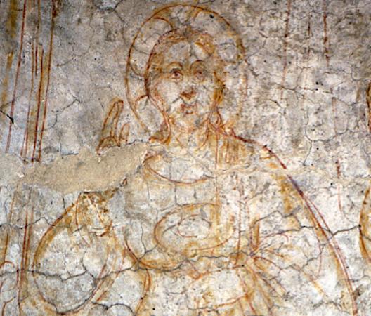 fresco of female with halo
