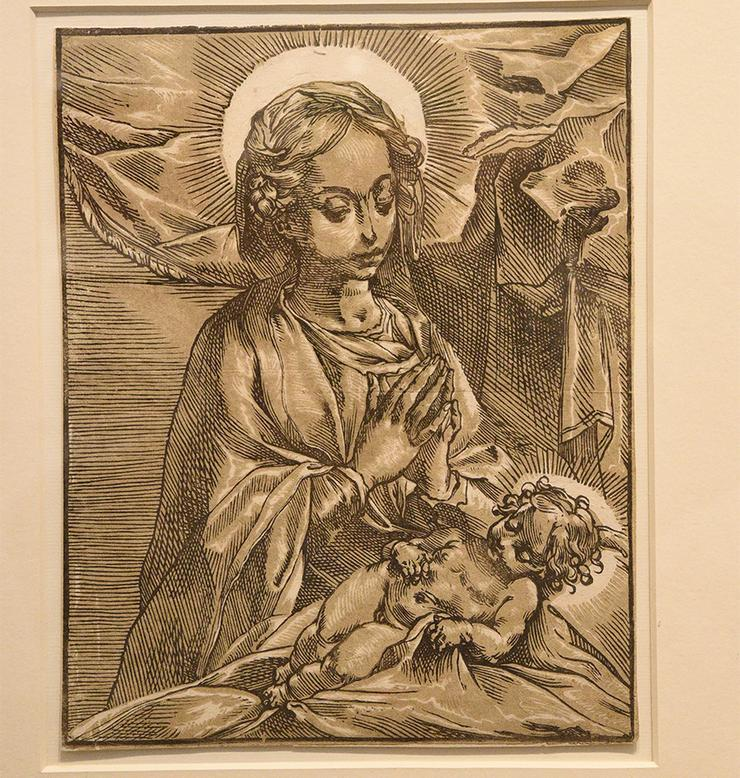 Andrea Andreani, Virgin and Child, C. 1591-93, Chiaroscuro woodcut from 2 blocks, Bartsch XII, 56, 11
