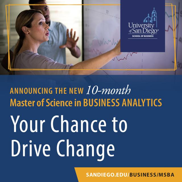 Flyer: USD's new Master's in Business Analytics, your chance to drive change.