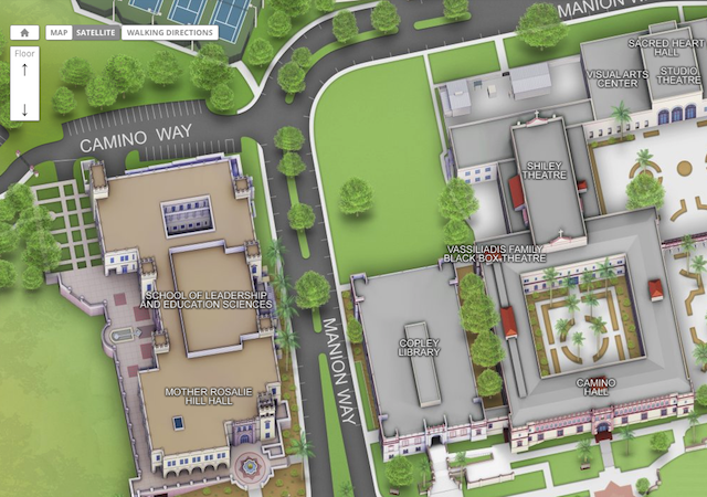 Aerial view of the space behind Copley Library
