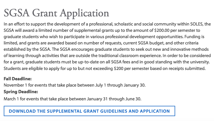 SGSA Grant Application page, http://www.sandiego.edu/soles/student-life/student-organizations/grant-application.php