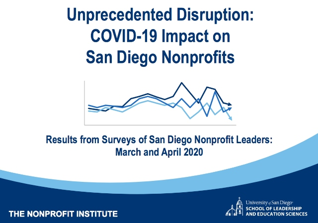 "Title page of report that says ""Unprecedented Disruption: COVID-19 Impact on San Diego Nonprofits. Results from Surveys of Nonprofit Leaders: March and April 2020"