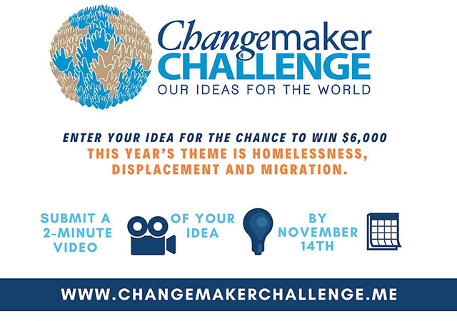 Announcement for online voting for videos by eight 2019 Changemaker Challenge finalists.
