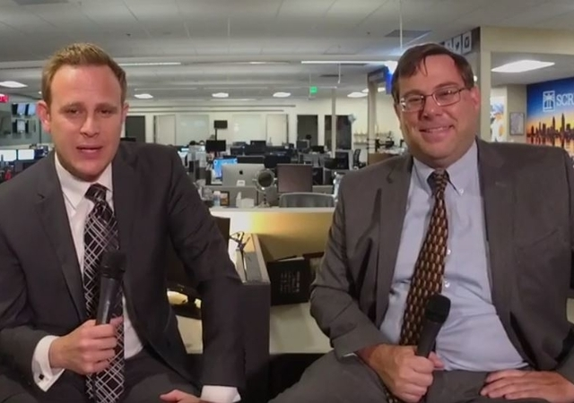 10 News Anchor Adam Racusin and Professor John Demas