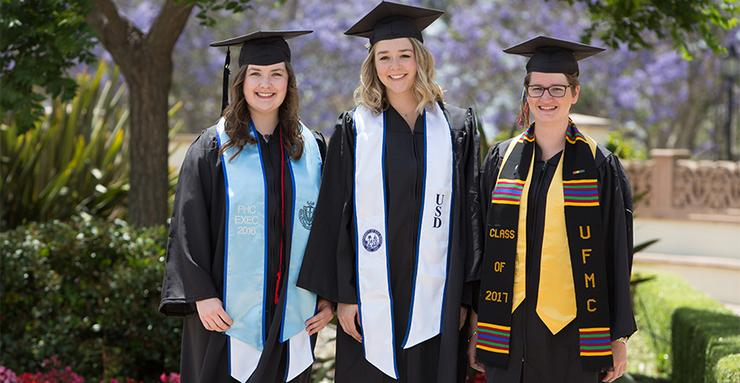 The University of San Diego's three Class of 2017 Valedictorians, from left to right: Keely Palla (Business), Rachel Lloyd (Engineering), Emma Doolittle (College of Arts and Sciences).