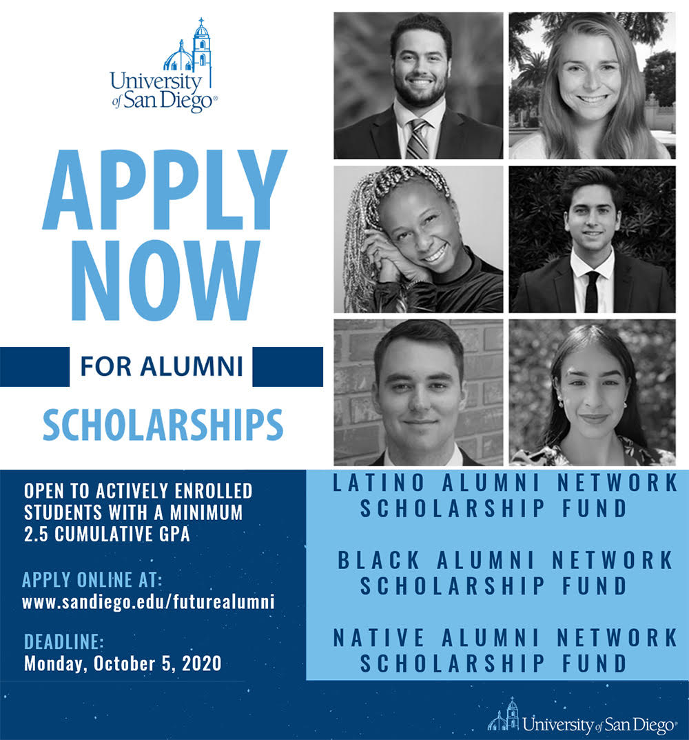 The USD Alumni Association has several scholarships available to actively enrolled students with a 2.5 cumulative GPA.�  Apply before October 5, 2020