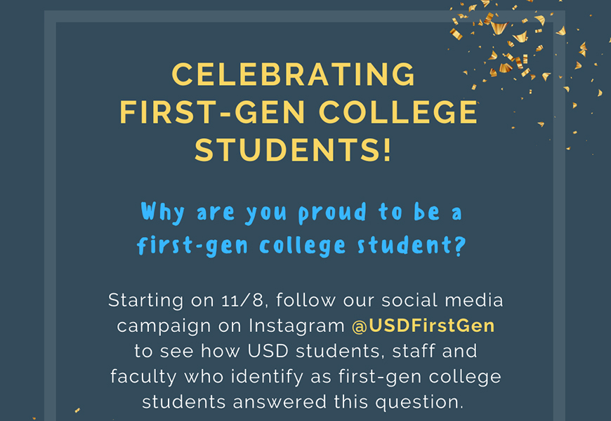 First Generation students at USD