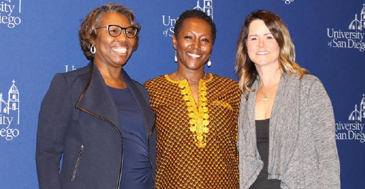 Dr. Monique Morris, center, appeared at USD's Copley Library to discuss her new book, Pushout: The Criminalization of Black Girls in Schools. on Feb. 25.