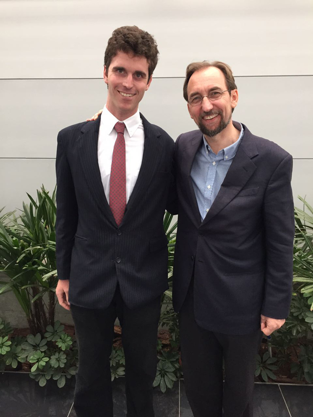 Eli Beller (MAPJ '16) with UN High Commissioner for Human Rights Zeid Ra'ad Al Hussein