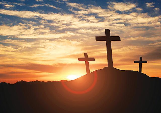 Silhouette of three crosses