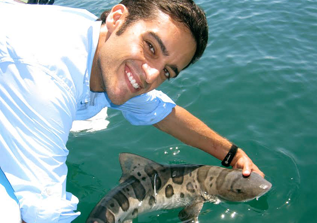 Dr. Nosal holds a shark