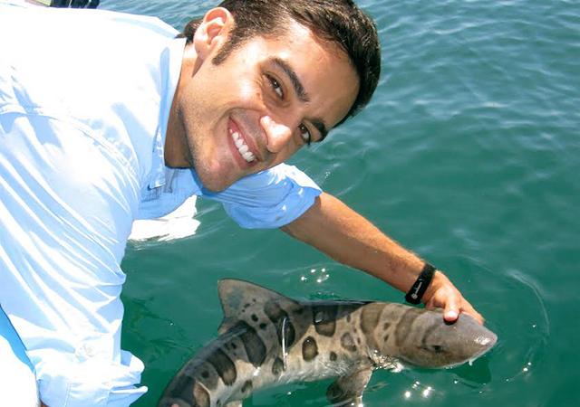 Dr. Nosal holds a shark