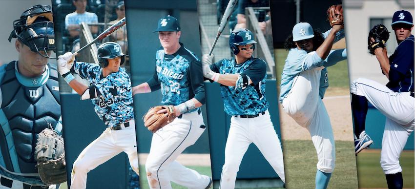 Collage image of six USD baseball alumni