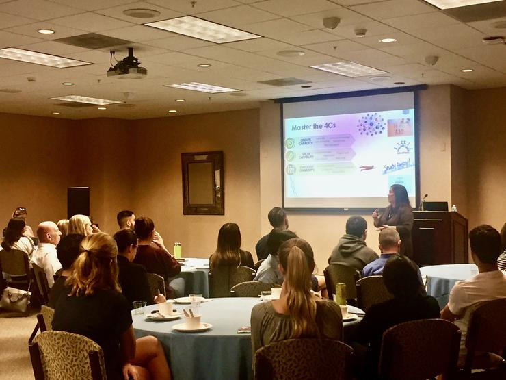 Grace Lee, chief human resources and diversity officer at Cubic Corporation, presents at the USD Ahlers Center International Business Speaker Series