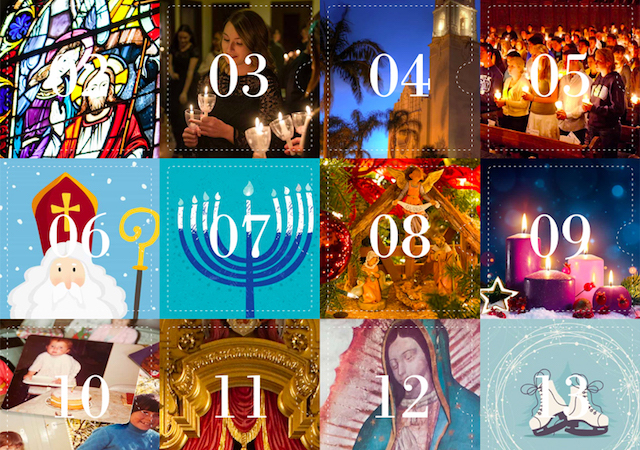Advent Calendar 2019 thumbnail with a collage of Advent-related images and dates