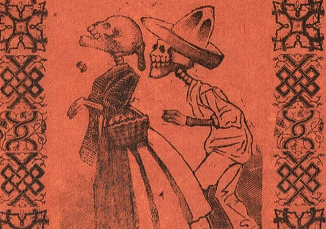 Print of male skeleton walking behind female skeleton, both clothed.