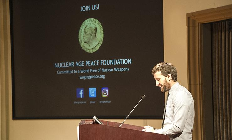 Rick Wayman, deputy director of the Santa Barbara-based Nuclear Age Peace Foundation, spoke in the KIPJ Theatre on March 20 on dangers and hopefulness surrounding the issue of nuclear weapons.
