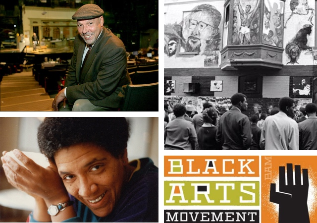 photo collage of Audrey Lorde, August Wilson, a scene outside a theatre during the Harlem Renaissance, and a poster for the Black Arts Movement