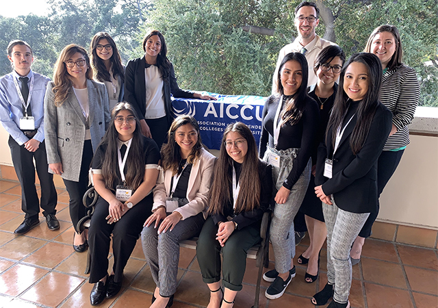 Vicenta Martinez Govea, front, far right, completed the AICCU�s Independent California Colleges Advocate Program.