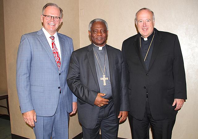 President Harris, Cardinal Turkson, Bishop McElroy