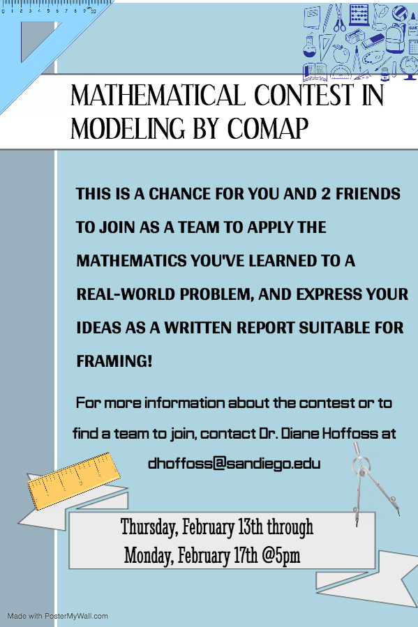 This is a chance for you and 2 friends to join as a team to apply the matematics you've learned to a real-world problem, and express your ideas as a written report suitable for framing!