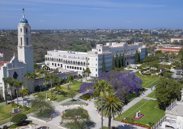 View of University of San Diego campus from above