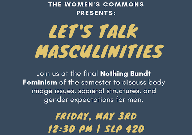 Let's Talk Masculinities: Join us at the final Nothing Bundt Feminism of the semester to discuss body image, societal structures, and gender expectations for men. Bundt cake will of course be served!