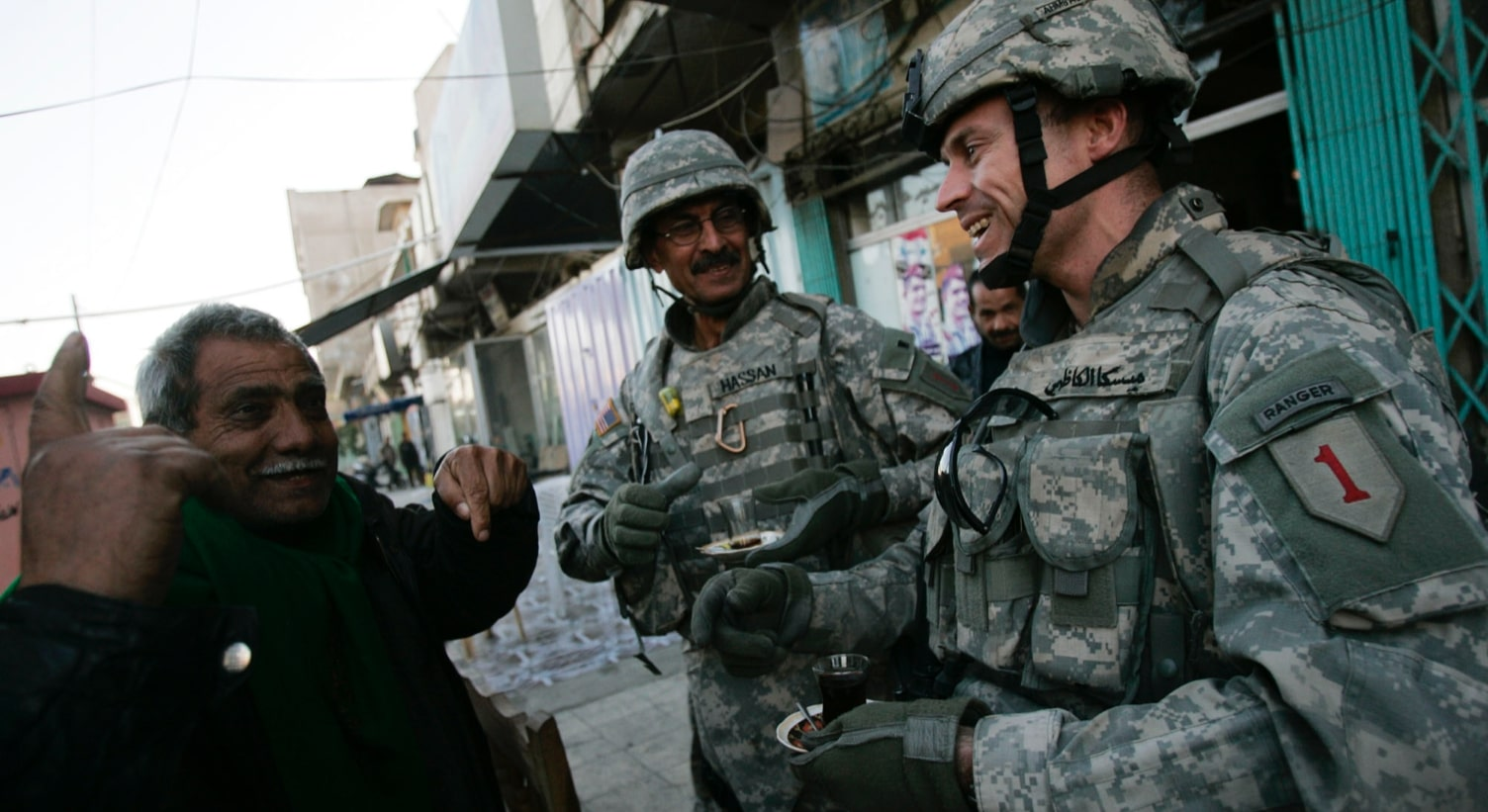 Steve Miska (right), on the streets of Baghdad with his interpreter, Hassan. Photo credit: Chris Hondros, Getty Images, 2007