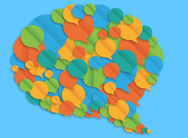 A design of a speech bubble made of other colorful speech bubbles.