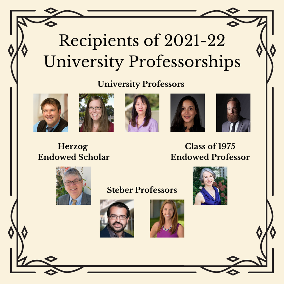 "Graphic titled ""Recipients of 2021-22 University Professorship,"" followed by images of each professor."
