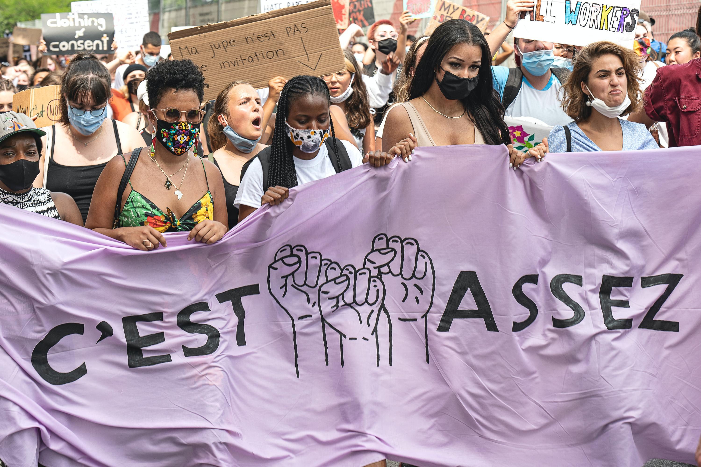 women marching in Canada