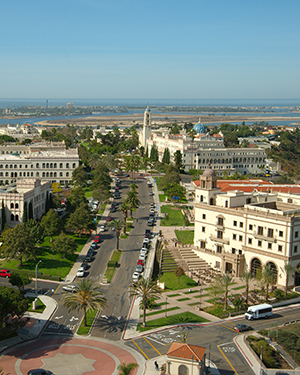 Bird's eye view of the USD campus