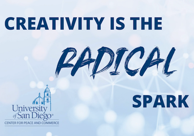 Event title, Creativity is the Radical Spark on light blue graphic