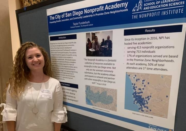 Taylor Funderburk in front of academic poster on The Nonprofit Academy